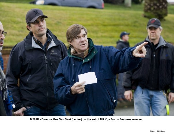 Director Gus Van Sant (center) on the set of Milk.