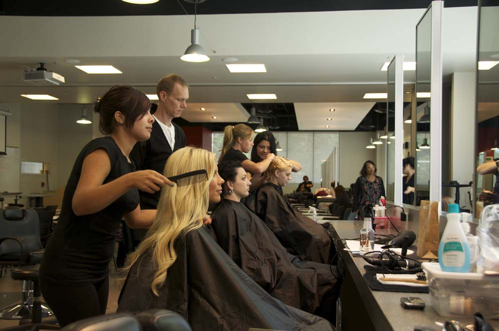 Students+of+the+cosmetology+department+practice+different+techniuqes+they+need+to+use+to+create+different+hairstyles+and+looks.+