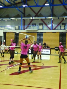 Tessa Butterfield (#14) throws to Southwestern College player  at the Harry West Gym at City College during the second game of a breast cancer awareness benefit.  Mariel Mostacero, City Times