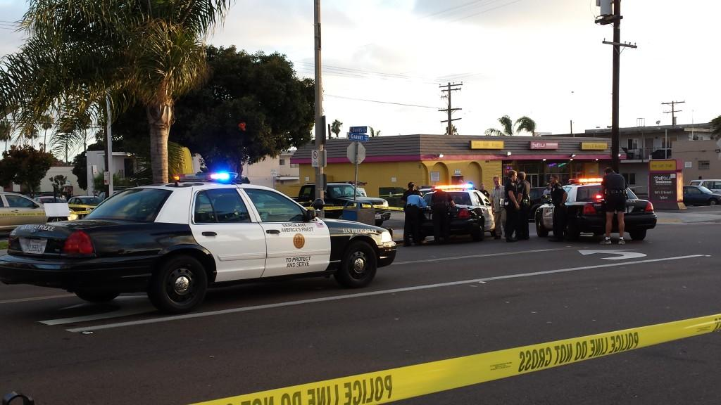 Police+shut+down+a+Pacific+Beach+intersection+after+a+shooting+on+Saturday+evening.