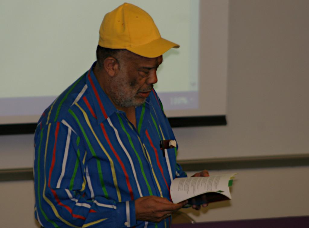 Professor Farrell Foreman speaking at an event during the 8th Annual San Diego City College Book Fair on Oct. 2. Jessica Ramirez, City Times.