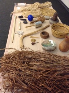 A table of several Kumeyaay Native American artifacts. Ahmad Blue, City Times.