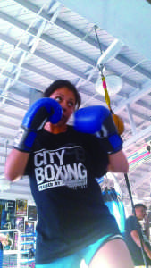 Evelyn Segura goes through her daily regimen at City Boxing in San Diego on Oct. 17.Photo credit: Miguel Rodriguez