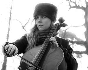 Linnea Olsson strums her cello in a park.  (Photo courtesy of 405 tv)