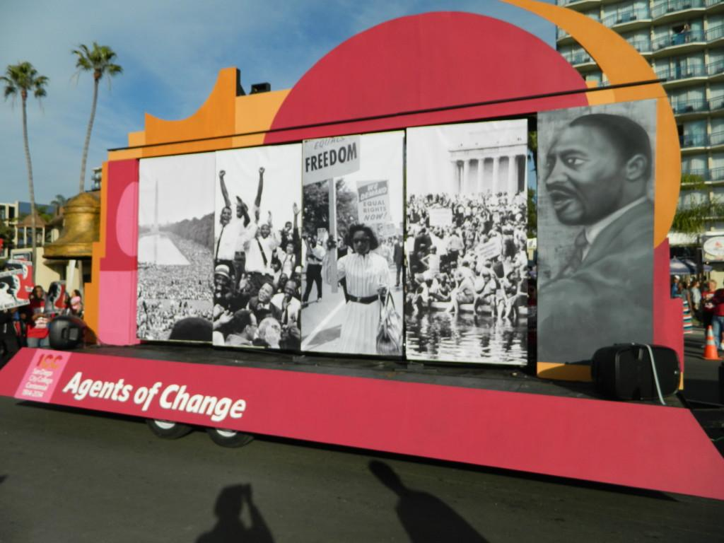 The float featured imagery from the 1964 March on Washington and a rendering of Dr. Luther King Jr. by the City College graphic design department.Photo credit: Christopher Handloser