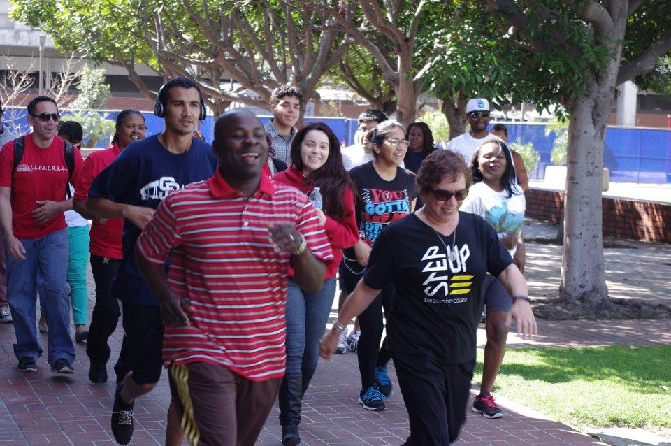 Students, staff and faculty during the 2K Fun Run on March 13 in the Gorton Quad. Photo credit: Joe Kendall