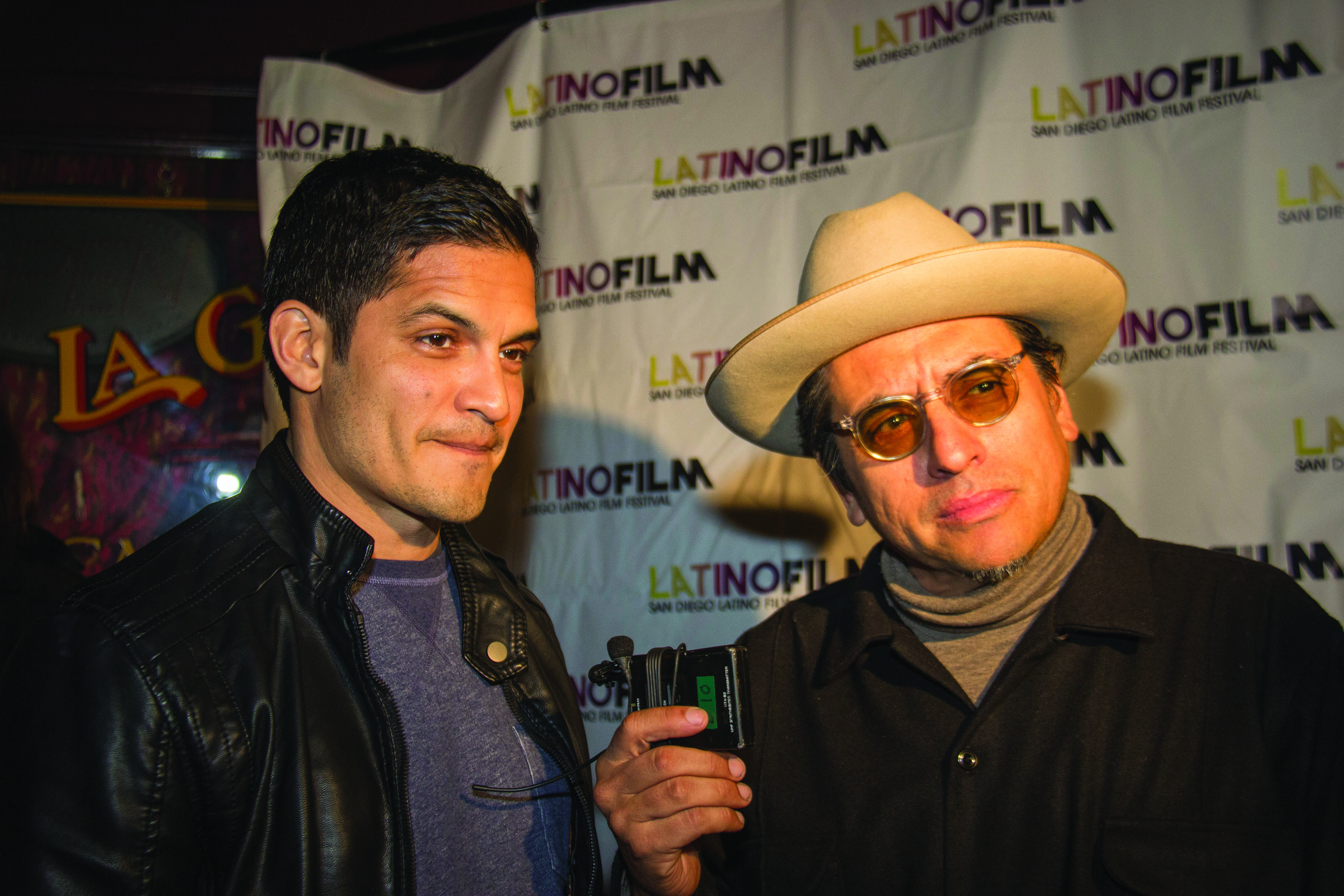Richard Montoya, right, with actor Nick Gonzalez speaking about the film