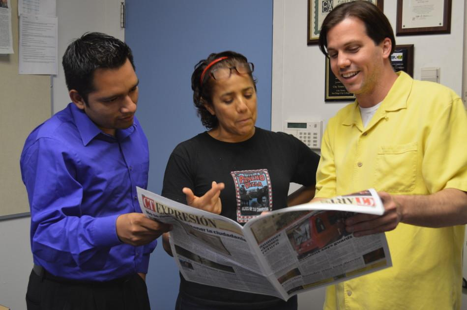 Antonio Marquez, left, Sandra Galindo and Chris Handloser won awards from the Journalism Association of Community Colleges. Photo credit: Michelle Moran