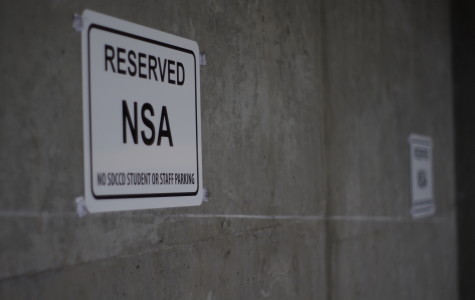The eighth floor of the V building parking garage has had spots reserved for a organization going by the name of NSA. Photo credit: Joe Kendall