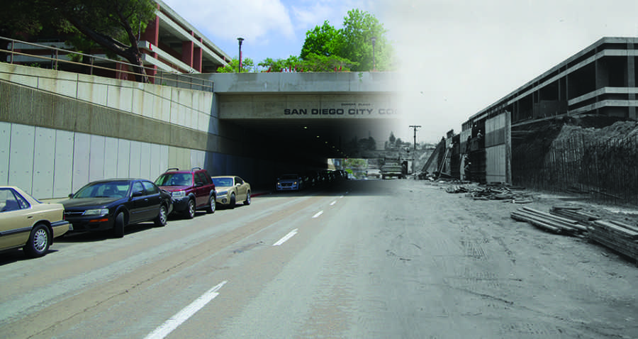 Curran Plaza: Then and Now (photo illustration). Photo credit: Troy Orem