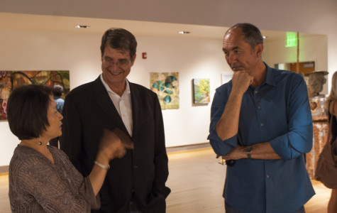 Architects Jeremey Joyce and Ryan Oesling speaking with City Gallery Art Director Y.C. Kim on Aug. 28 at a VIP opening reception. Photo credit: Torrey Spoerer