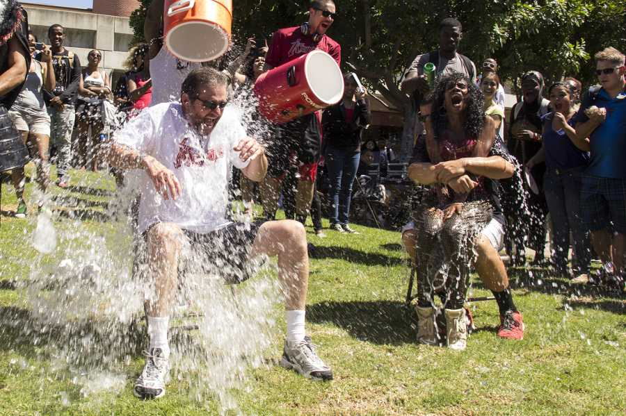 President Bebee accepts the ALS Ice Bucket Challenge on Spirit Day. Photo credit: Celia Jimenez