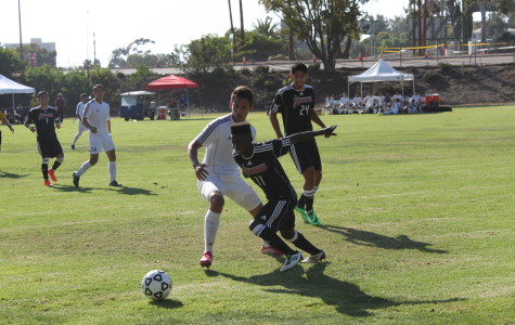 Knights midfielder Didier Hatungimana uses his agressive speed to gain the ball from the opposing team during the first home game of the season on Sept. 3. Photo credit: Miguel Cid