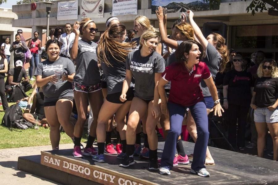 The Women's volleyball team and it's head coach Dede Bodnar performing at the Spirit Day dance competition.
