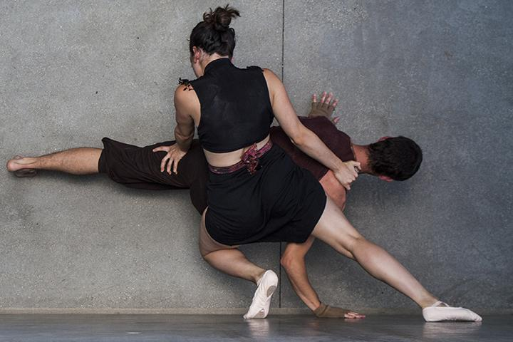 Ariana Siegel and Jedi Taylor perform an intimate dance at the bottom of the Business Technology building's back stairwell. Photo credit: Torrey Spoerer