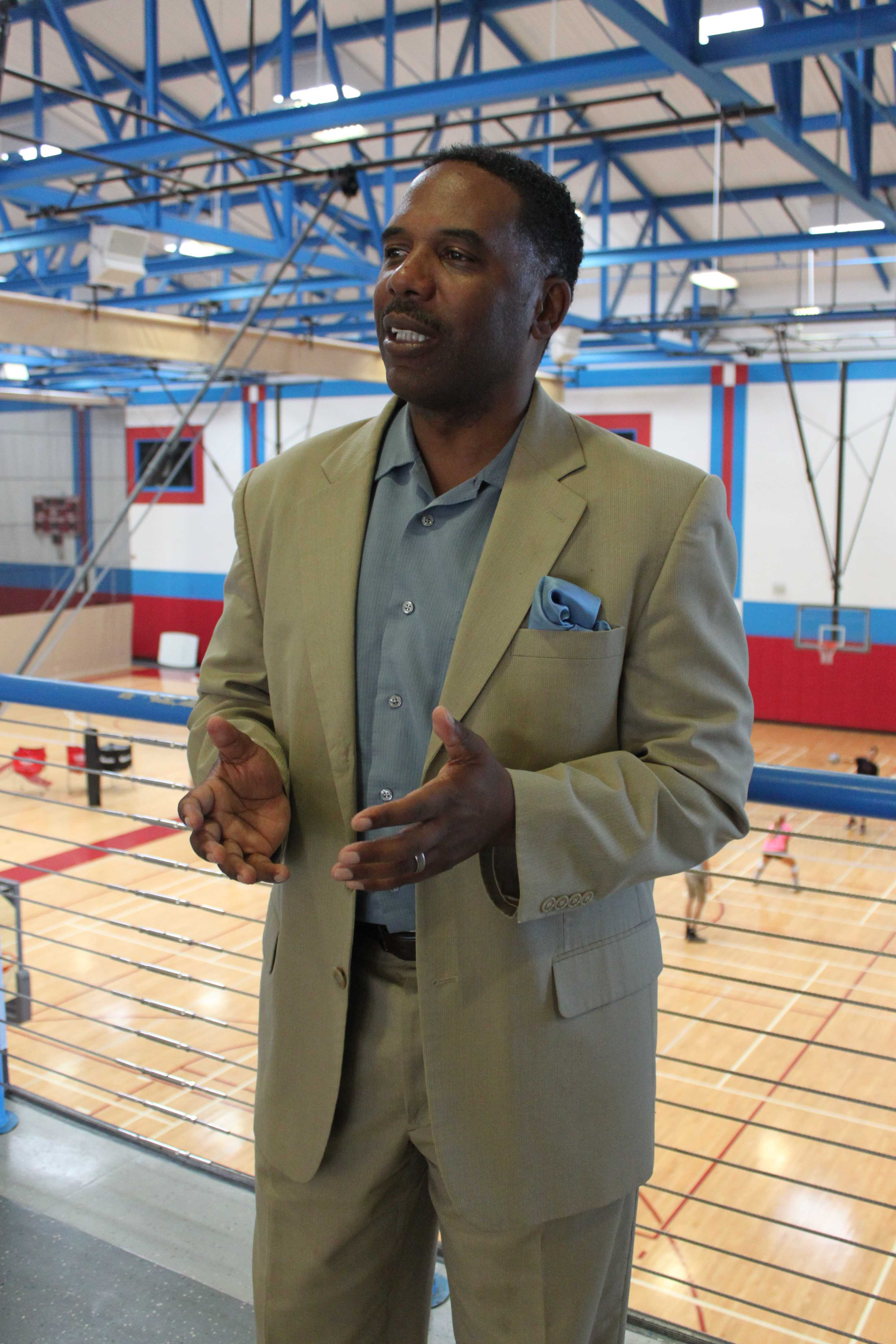 Acting Athletic Director Larry Maxey stresses the importance of athletes establishing themselves as individuals, off the field and court. Photo credit: Miguel Cid