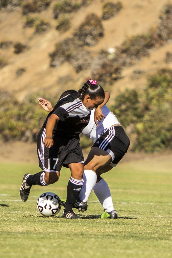 Sophomore forward Rebecca Garcia attacks the Palomar College defense during a home game on Oct. 3 Photo credit: Celia Jimenez