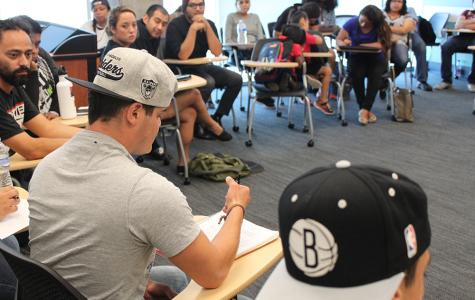 Students gather in MS-451 to participate in the student-led forum Sept. 30. Photo credit: Miguel Cid