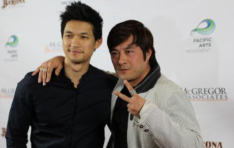 "Actors Harry Shum Jr. and Shing Ka on the red carpet for their film ""Revenge of the Green Dragons,"" the opening night film for the 15th Annual San Diego Asian Film Festival on Nov. 6 at Reading Cinemas Gaslamp 15. Photo credit: Angelica Wallingford"