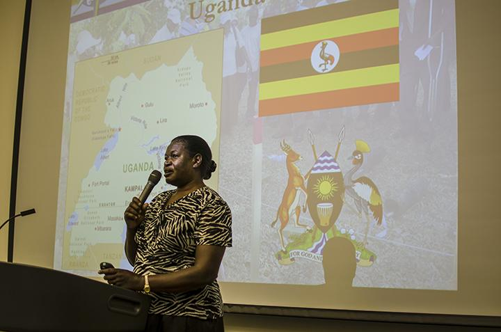 Margaret Orech speaks about land mine issues happening in her home country Uganda as part of an Oct. 22 event hosted by Peace Studies professor Katie Zanoni in MS-162. The event offered the perspectives of three women who described the state of inequality in countries around the world through a series from the Joan B. Kroc Institute of Peace Studies. Photo credit: Richard Lomibao