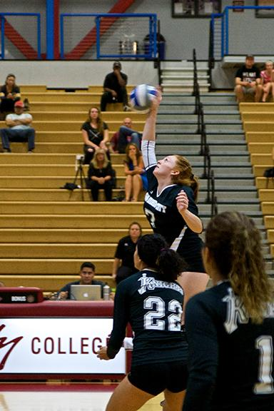 Sophomore outside hitter Karlee Troeh (#7) sends a hard-hitting kill toward the defense of Grossmont College on Nov. 7 where the Knights lost 3-0. Photo credit: Troy Orem
