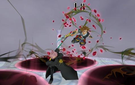 "Sora (right) fighting Organization XIII member Marluxia during one of the new boss fights featured in the final mix version of ""Kingdom Hearts 2."" Courtesy photo"