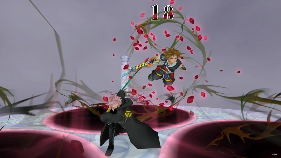 Sora+%28right%29+fighting+Organization+XIII+member+Marluxia+during+one+of+the+new+boss+fights+featured+in+the+final+mix+version+of+%E2%80%9CKingdom+Hearts+2.%E2%80%9D+Courtesy+photo