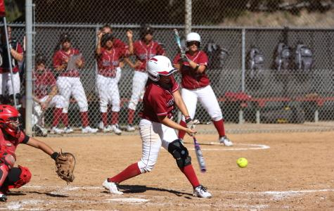 Freshman Ivana Gonzalez sends the ball flying during a home game against Long Beach City College on Feb. 7 where the Knights won 2-0 at the Betty Hock Softball Field. Photo credit: David Pradel