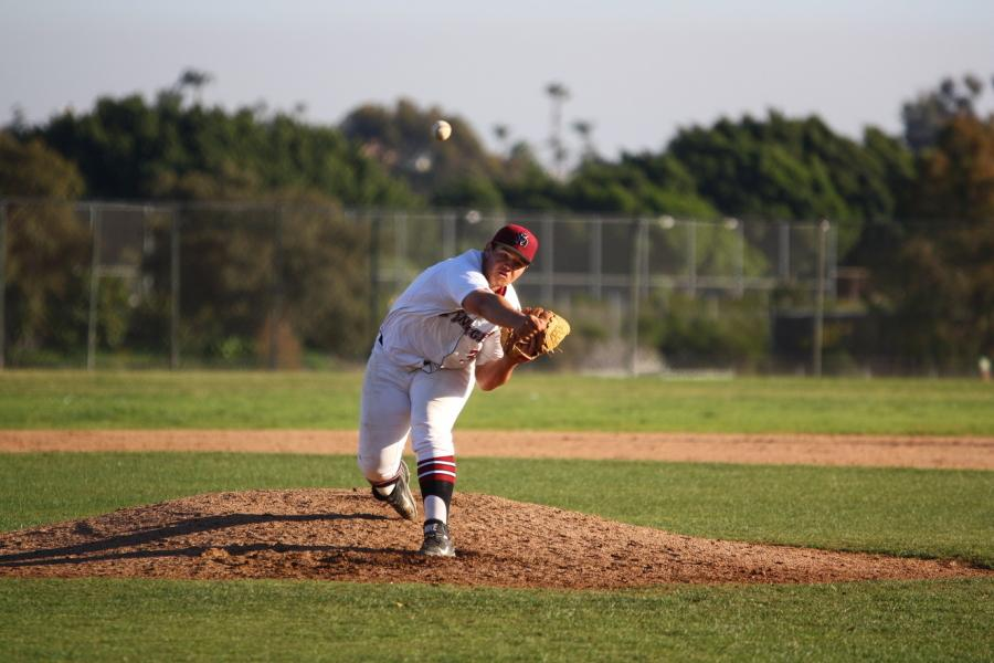 Freshman+pitcher+Christian+Broussard+brings+the+heat+during+a+home+game+at+Morley+Field+against+West+L.A.+on+Feb.+3%2C+where+the+Knights+won+4-3.+Photo+credit%3A+David+Pradel