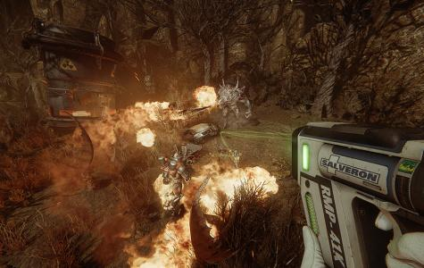 "In ""Evolve"" the player has the chance to choose to play as either one of the four hunters or the giant monster, with each choice having a different objective and outcome. Official image."