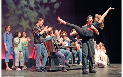"Actors during one of the final numbers of San Diego City College's 2006 production of ""Grease"" co-directed by June Richards and Alicia Rincon. Photo by Manuel Rotenberg."