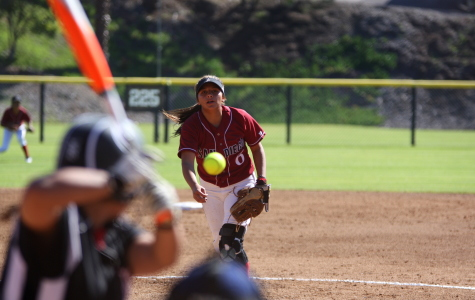 San Diego City College freshman pitcher Ivana Gonzalez sends a pitch down the middle for the strike against a batter from Long Beach City College. The Knights went on to win 2-0 on Feb. 7 at the Betty Hock Softball Field. Photo credit: David Pradel