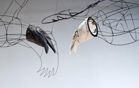 Art pieces, such as these sculpted birds by retired SDSU art professor Joanne Hayakawa, explore the themes of nature and humanity that is present in City Gallery's spring exhibition.   Photo courtesy of Joanne Hayakawa