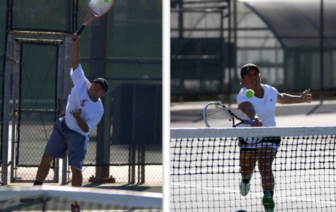 Freshman Dale Guiterrez (left) and freshman Brianna Hooks (right) both lead the Knights men's and women's tennis team's as the new spring season swings off. Photo credit: David Pradel