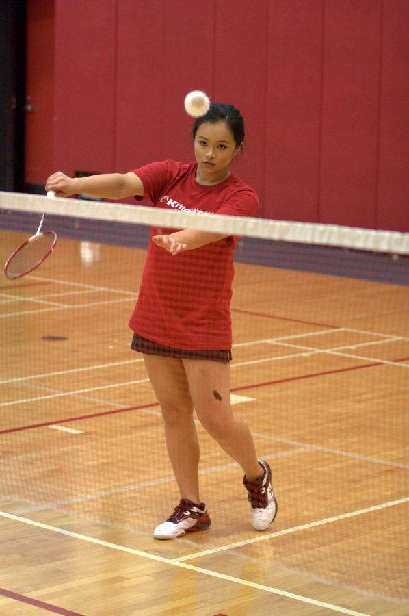 During+the+last+round+of+the+home+opening+match%2C+sophomore+Cassandra+Ka+serves+the+birdie+over+the+net+against+Grossmont+College+on+March+4+in+the+Harry+West+Gym.+Photo+credit%3A+David+Pradel