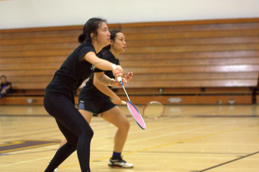 Freshman+Emerald+Liu+%28front%29+and+sophomore+Gina+Niph+%28back%29+both+compete+in+the+doubles+round+of+the+second+annual+Mesa+College+Badminton+Tournament+on+March+20%2C+where++Liu+and+Niph+made+it+to+the+semifinals+of+the+doubles+bracket.+Photo+credit%3A+David+Pradel