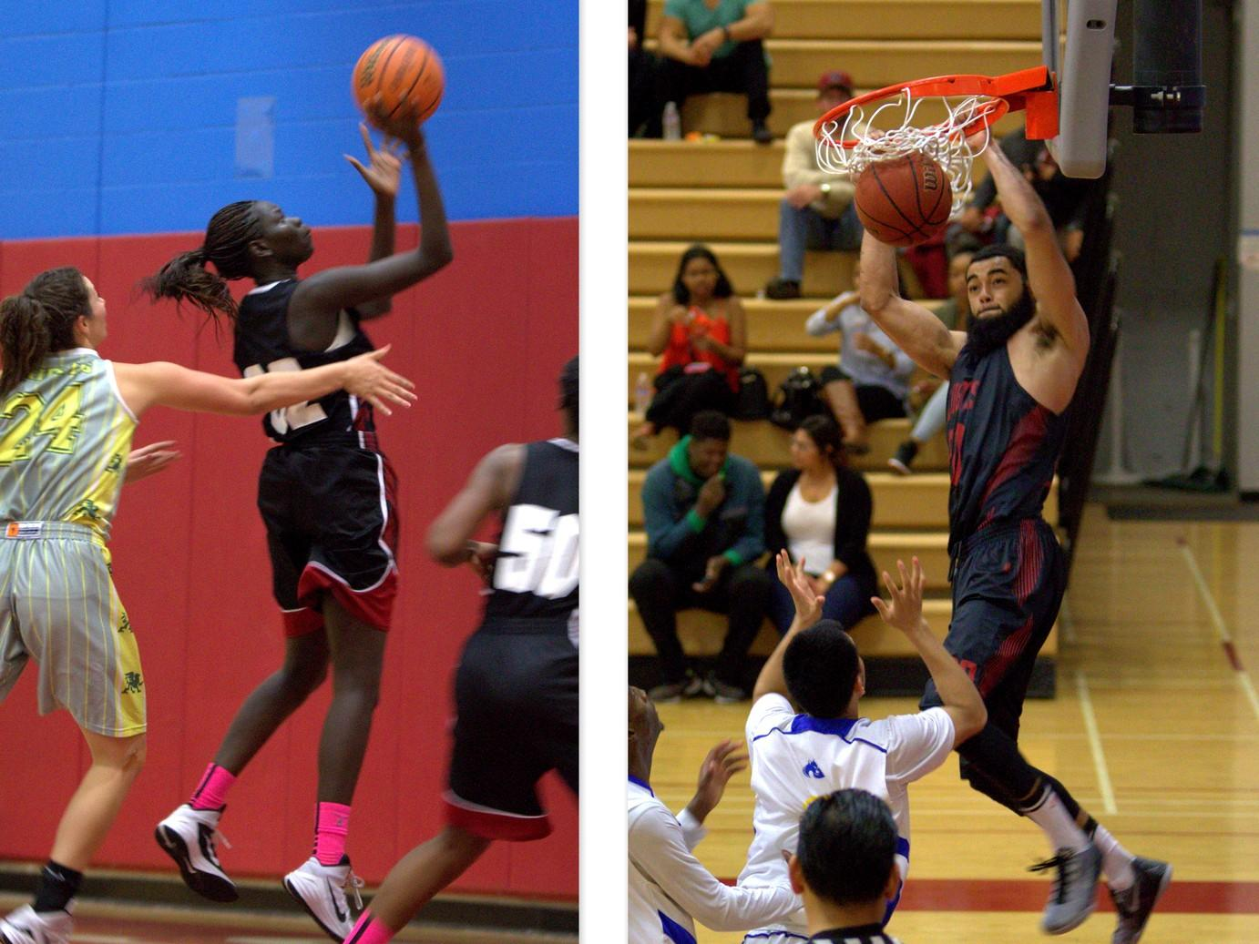 Sophomores Nyaduop Lam (left) and Chris Burton (right) both finished the basketball season by leading the women's and men's basketball teams in scoring at San Diego City College. Photo credit: David Pradel