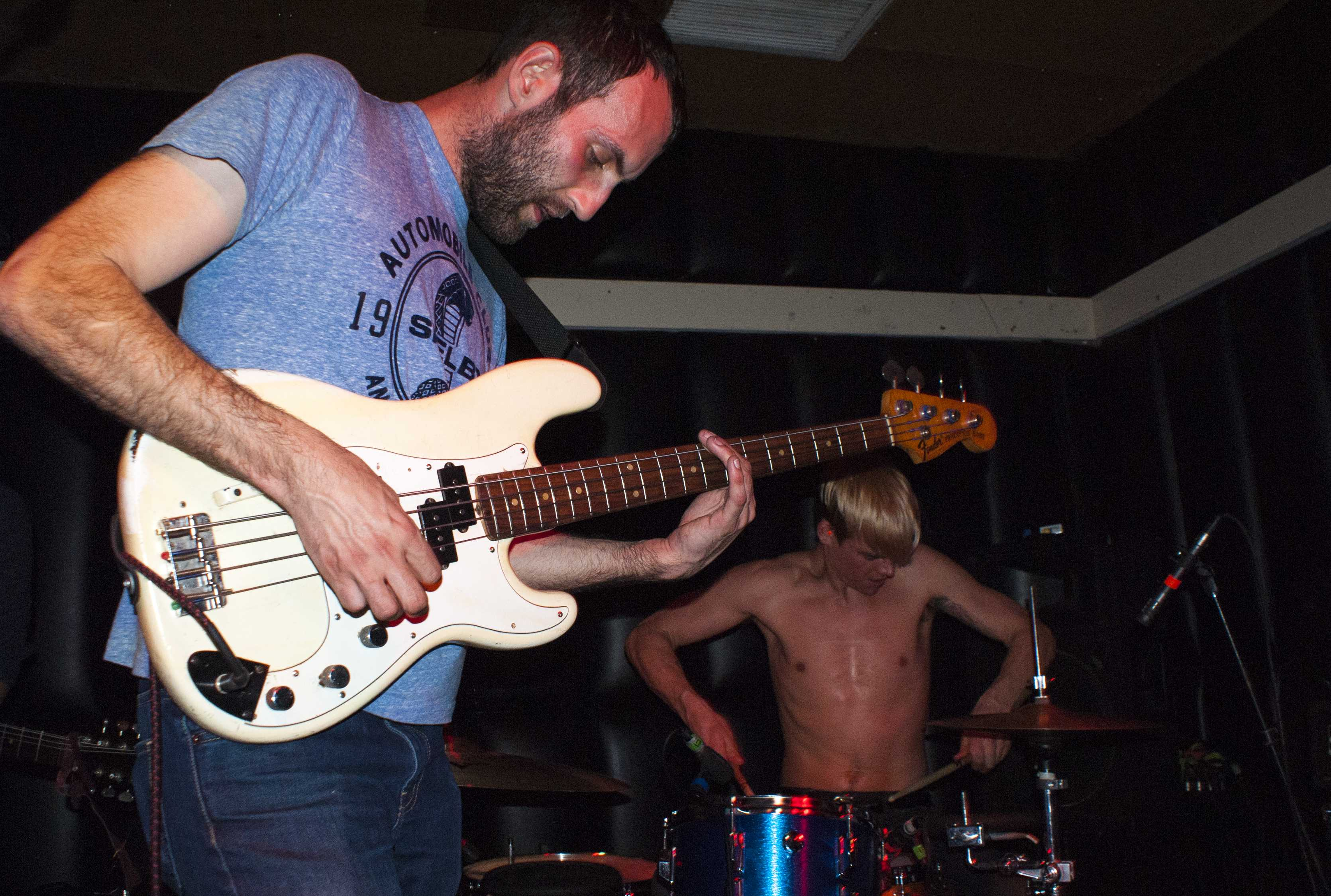 Alternative indie rockers Viet Cong bassist and singer Matt Flegel and drummer Mike Wallace perform to a packed house at the Soda Bar in San Diego on March 7. Photo credit: Torrey Spoerer
