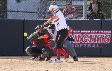 Sophomore shortstop Katie Dowdy hits the ball during the sixth inning of the home game against Mt. San Jacinto College on April 10, where the Knights lost 4-1. Photo credit: David Pradel