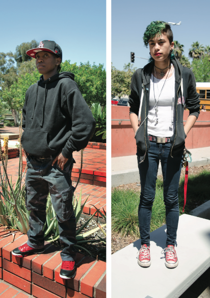 Adrienne Mccue (left) is inspired by athletic wear and bases her outfits on what shoes  and snapback she decides to wear that day. Alice Kiddo's style (right) is driven by video games and comic book superheroes such Storm from X-Men, which inspired her androgynous haircut. Photo credit: Richard Lomibao