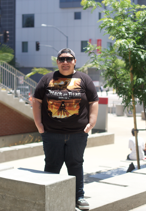 Legend Magazine Editor-in-Chief Angelica Wallingford in the Arts & Humanities/Business Technology Quad on May 14. Photo credit: David Pradel