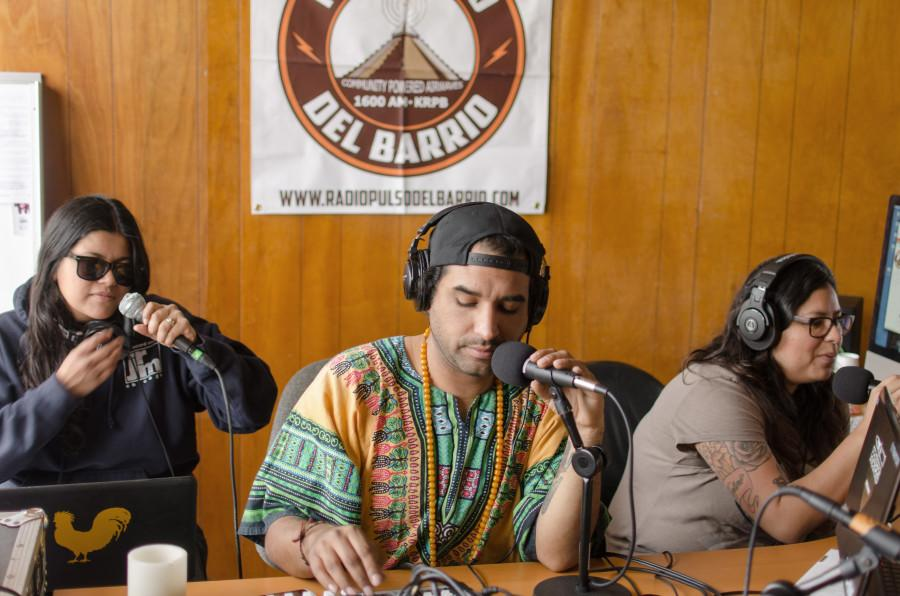 Ana Brown, Bob Green and Teresa Montero on air during the Breakfast Burrito Club morning radio show. Photo credit: Richard Lomibao