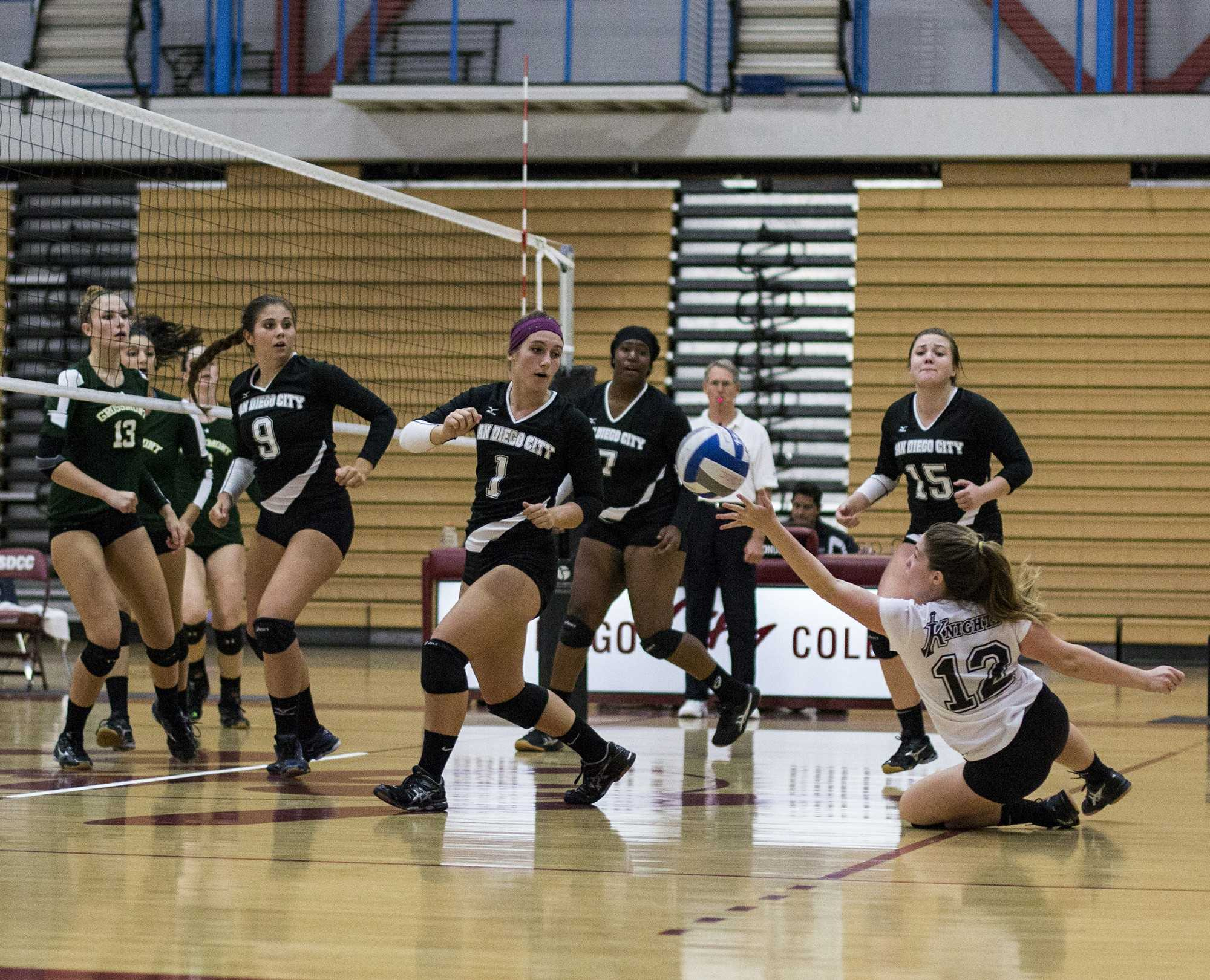 During the second quarter of the match between the Knights and Grossmont College on Oct. 2, the Knights sent the ball over the net and were met with a sharp