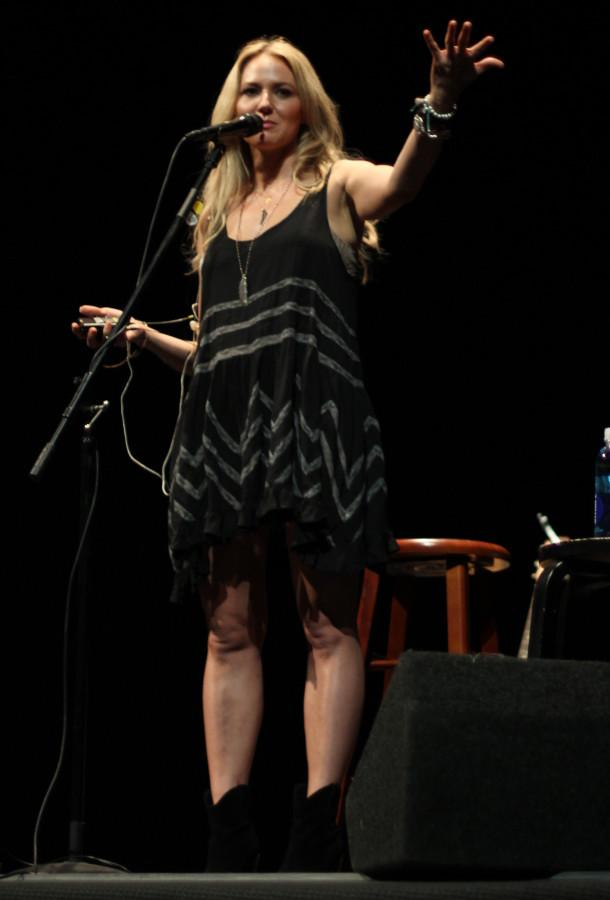 Country singer-songwriter Jewel talks to a packed house about her new  projects and adventures on Sept. 24 at The Sherwood Auditorium in La Jolla. Photo credit: Mike Madriaga