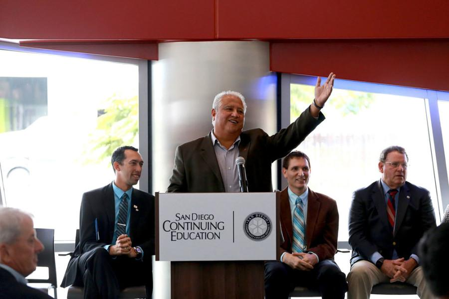 Paul Chavez, president of the Cesar Chavez foundation, spoke at the opening of  Continuing Education's Cesar E. Chavez Campus. Photo from San Diego Community College District