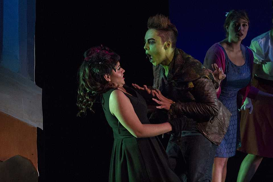 "Yasmin Ruiz and Aaron Lugo play good girl Toffee and rebel bad boy Jonny in the San Diego City College drama department's production of the 1950s atomic-age musical ""Zombie Prom."" Photo credit: Celia Jimenez"
