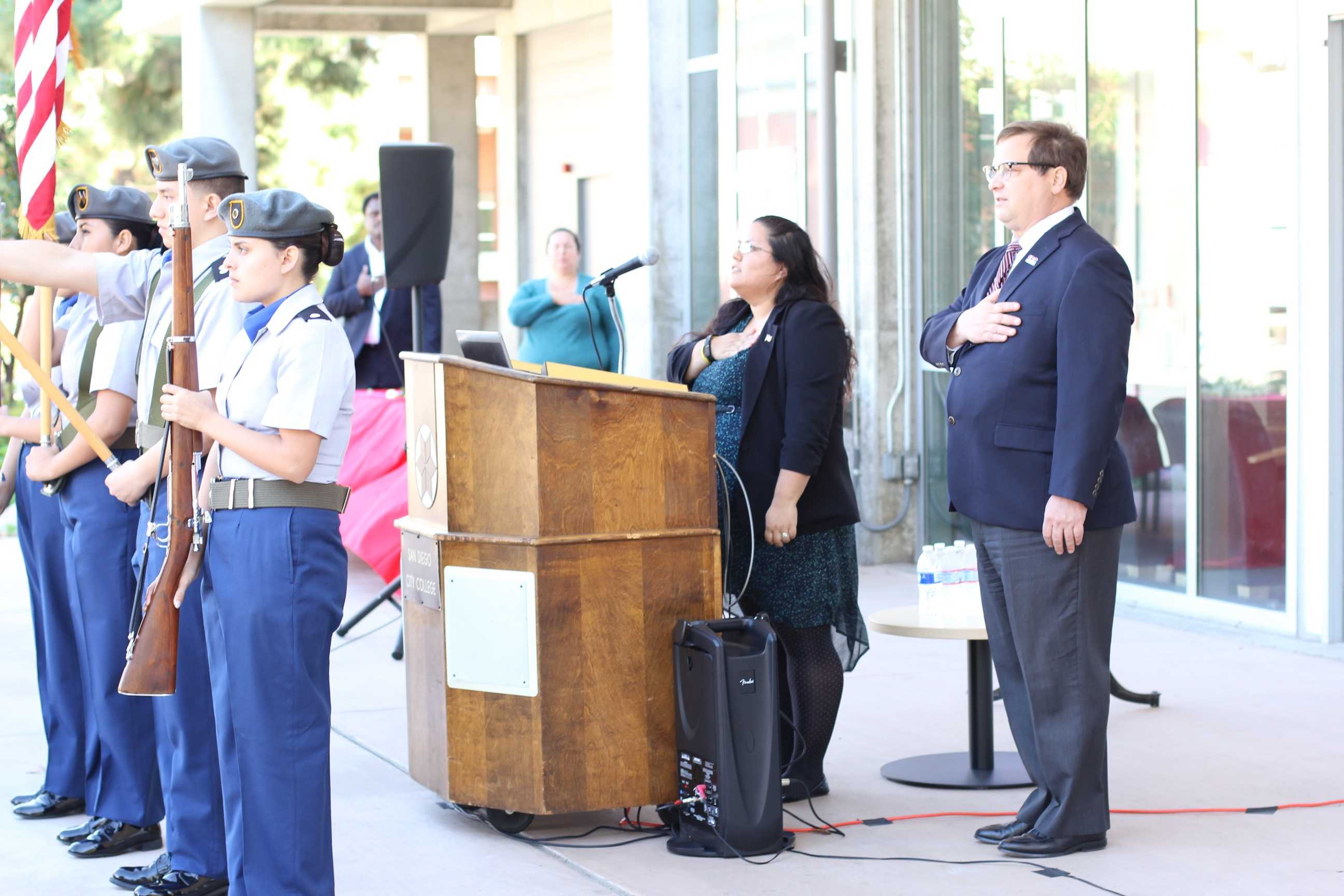 Associated Students Government President Laura Benavidez (center) led the recital of the Pledge of Allegiance during the Veterans Day event on Nov. 12. Photo credit: Katherine Salindayao-White