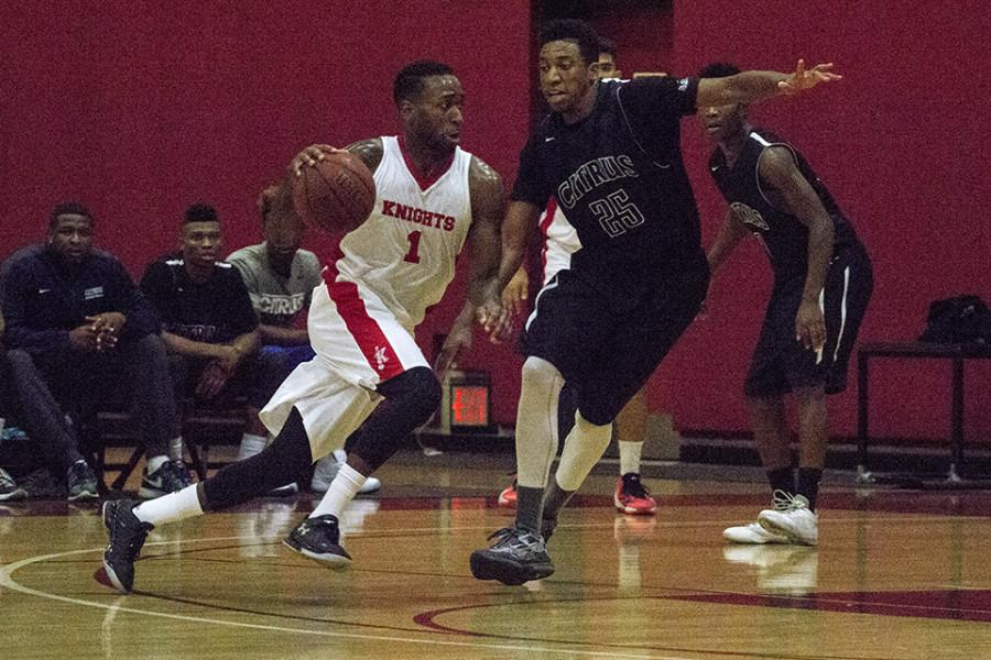 The San Diego City College Knights men's basketball team started their season off with a bang beating the Citrus Owls, 80-65, on Nov. 4. Photo credit: Celia Jimenez