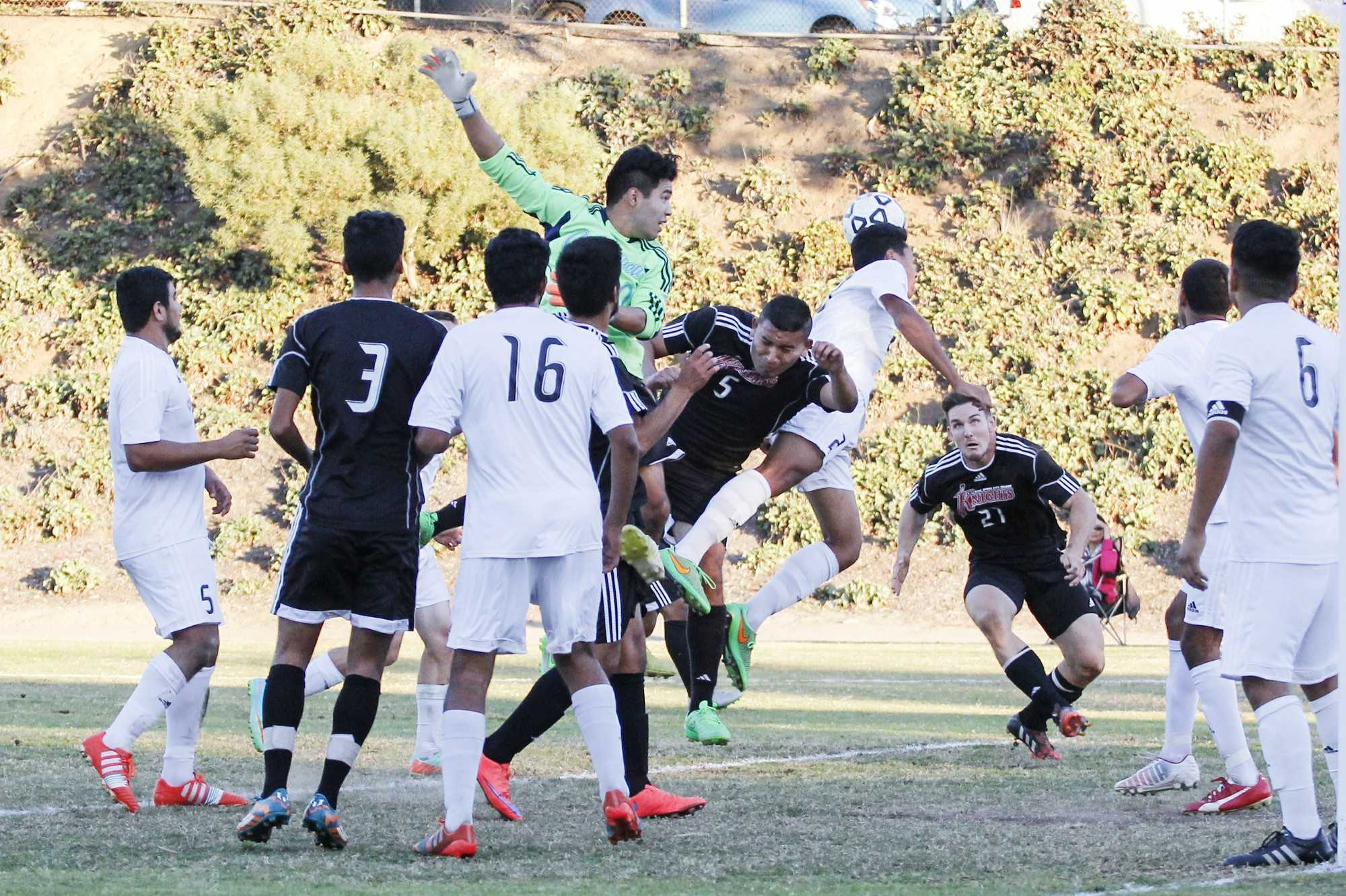 The Knights faced the Cuyamaca Coyotes in their last game of the season, losing 4-2 at home, on Nov. 13. They ended the season placing third in the Pacific Coast Athletic Conference. Both teams played each other again in the first round of the SoCal Regional playoffs on Nov. 21 at Cuyamaca College, where the Coyotes defeated the Knights yet again, 2-1, moving into the second round of the playoffs. Photo credit: Celia Jimenez
