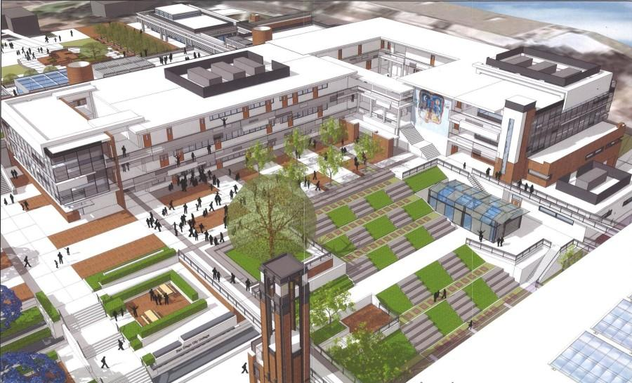 An early rendering of an aerial view of the A building post renovation. Photos courtesy of Tom Fine and RJC Architects